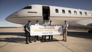 Global 7500 crew after record breaking flight © Bombardier