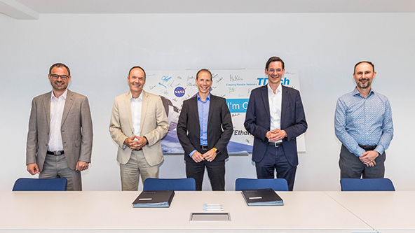 The teaming agreement between RUAG Space Austria and TTTech Computertechnik AG was signed on June 23, 2021 at TTTech's headquarters in Vienna, Austria (© TTTech Computertechnik AG).